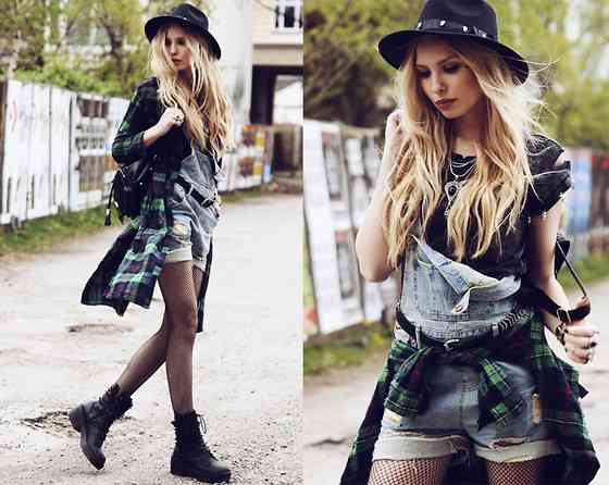 Punk Outfit: dark green lumberjack shirt, black top, denim overall shorts, black fishnet tights, black army boots, black hat, black bag, necklace #outfitoftheday #blonde #makeup #longhair