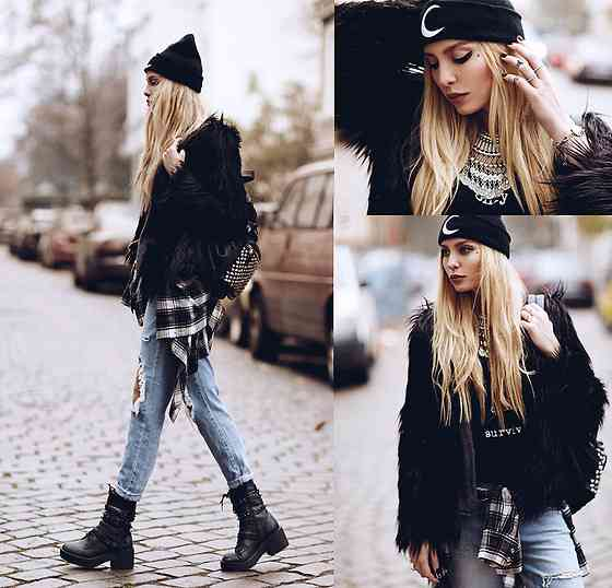 Punk Outfit: black faux fur jacket, black top, ripped jeans, black winter hat, black army boots, necklace, black bag #outfit #blonde #punk #black