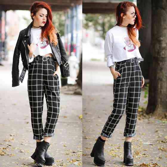 Punk Outfits: white long sleeve crop top, black faux leather jacket, black and white checked pants, black booties, black belt, sunglasses, choker #outfitideas #redhair #punk #girl