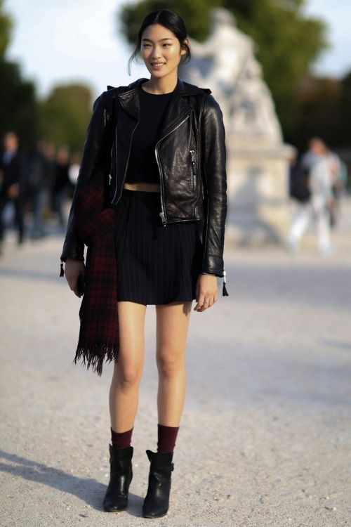 Punk Outfit: black faux leather jacket, black crop top, black skirt, wine socks, black booties, black bag, wine plaid scarf #outfitideas #black #teen #punk