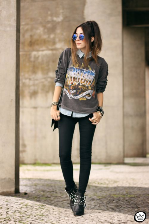 Punk Outfits: gray sweater, light blue shirt, skinny jeans, black booties, sunglasses, bracelets, black bag #outfitoftheday #girl #fashion #trendy