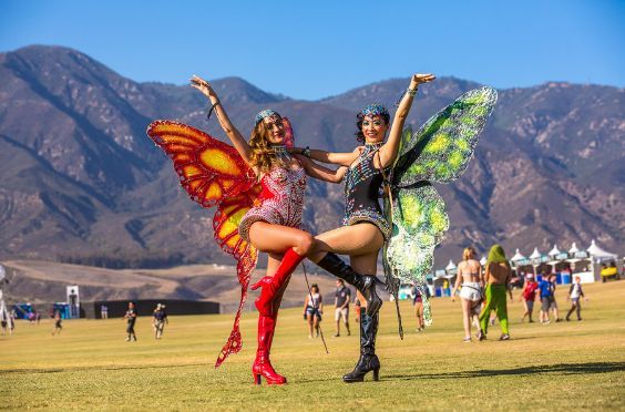 Rave Outfit: one piece rhinestone bodysuit, knee high boots, rhinestone headband, butterfly wings #outfit #costume #festival #coachellaoutfit
