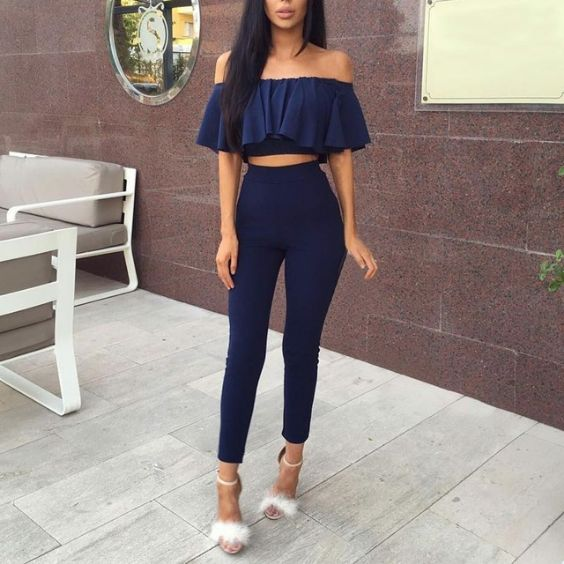 Sexy Outfits: navy blue ruffle crop top, navy blue skinny pants, white heel sandals #outfitoftheday #longhair #brunette #fashion