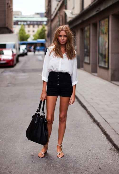 Sexy Outfit: white half sleeve blouse, black high waisted shorts, nude sandals, black handbag #outfitoftheday #dailylook #hairstyle #makeup