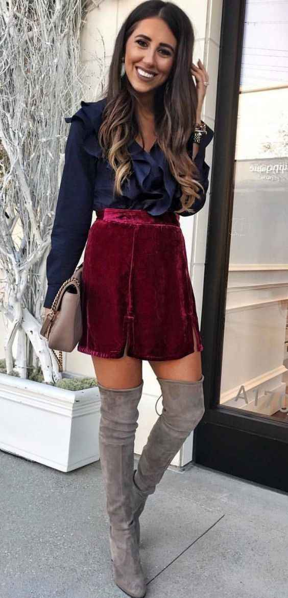 Sexy Outfits: navy blue ruffle blouse, wine velvet skirt, gray knee high boots, beige purse, earrings #outfitoftheday #smile #sexy #pretty