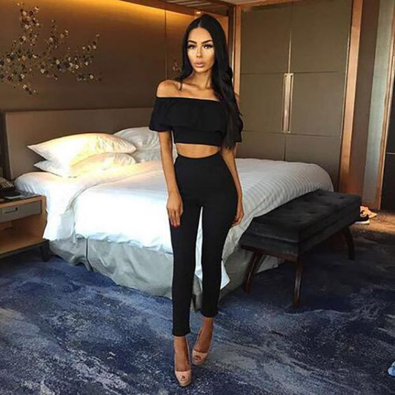 Sexy Outfits: black off the shoulder ruffle crop top, black skinny capri, nude heels #outfitideas #blackoutfit #sexy #trendy