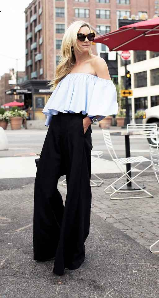 Sexy Outfit: light blue off the shoulder ruffle top, black palazzo pants, sunglasses, watch #outfitideas #city #fashion #women