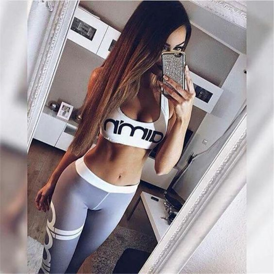 Sexy Outfits: white sleeveless crop top, gray sport leggins #outfit #sports #longhair #girl