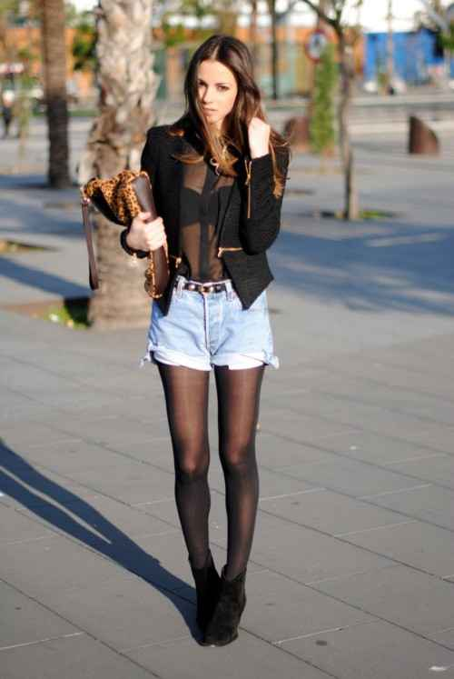 Sexy Outfit: black chiffon blouse, black jacket, denim shorts, black tights, black booties, animal print bag, black belt #outfitoftheday #brunette #black #girl