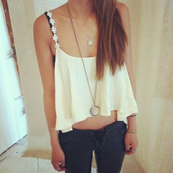 Sexy Outfit: white spaghetti strap ruffle crop top, navy blue lace front skinny pants, necklaces, bracelet #outfit #longhair #teen #look