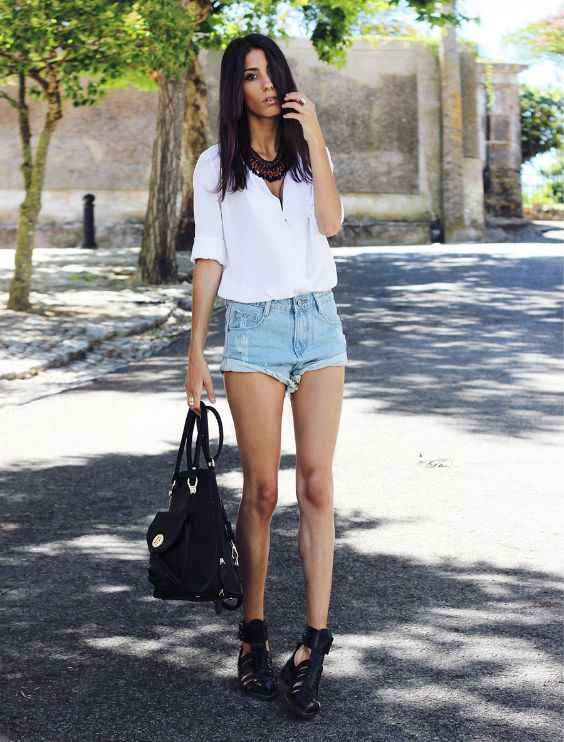 Sexy Outfit: white half sleeve blouse, denim ripped shorts, black wedge sandals, black bag, necklace #outfit #women #trendy #fashion