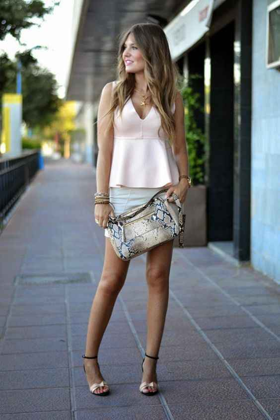 Sexy Outfits: baby pink sleeveless v-neck blouse, white skirt, black and white heel sandals, snake print handbag, bracelet, necklace #outfitoftheday #blonde #dailylook #girl