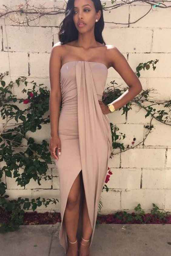 Sexy Outfit: nude strapless bandage dress, nude heels, watch, earrings #outfit #sexy #women #elegant