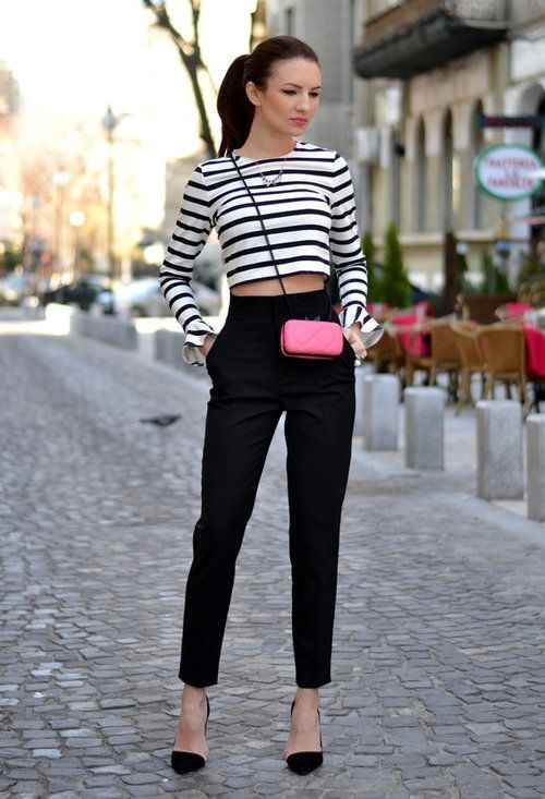Sexy Outfits: black and white striped long sleeve crop top, black pegged pants, black heels, pink crossbody mini bag, necklace #outfitideas #makeup #brunette #trendy
