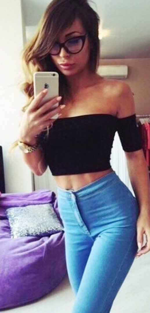 Sexy Outfits: black off the shoulder crop top, blue high waisted jeans, watch, glasses #outfit #glasses #girl #sexy