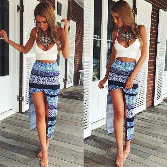 Sexy Outfit: white spaghetti strap v-neck crop top, blue short maxi skirt, tribal necklace #outfit #beach #sexyoutfit #fahsion