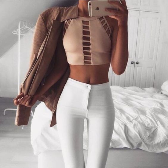 Sexy Outfits: light pink halter crop top, white skinny pants, brown jacket #outfit #girl #fashion #trendy