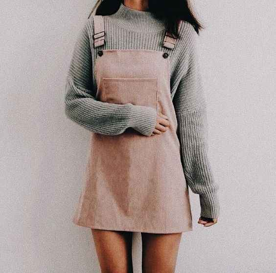 Spring Outfits: gray turtleneck sweater, pink overall skirt #outfitideas #spring #pink #girly