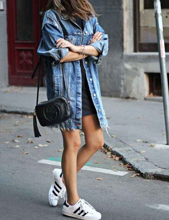 Spring Outfits: denim jacket, dark gray mini dress, white sneakers, black crossbody bag #outfitoftheday #teen #girl #trendy