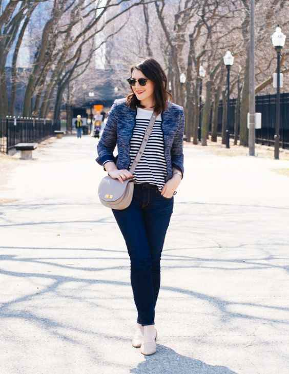 Spring Outfit: gray jacket, black and white striped shirt, skinny pants, beige crossbody bag, sunglasses, nude ballerina flats #outfitideas #pretty #spring #cute