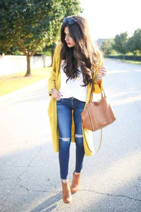 Spring Outfits: yellow longline cardigan, white top, ripped jeans, camel booties, camel handbag, sunglasses, bracelet #outfitideas #longhair #brunette #sun