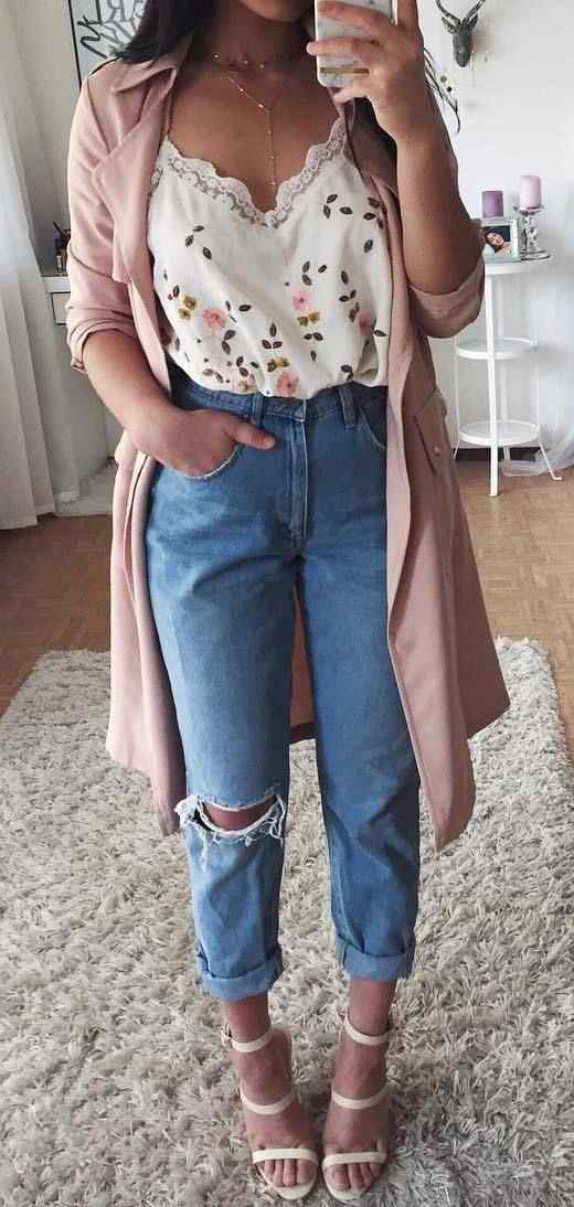 Spring Outfit: pink longline coat, ripped mom jeans, white high heel sandals, white floral v-neck top, necklace #outfitoftheday #cute #floral #pink