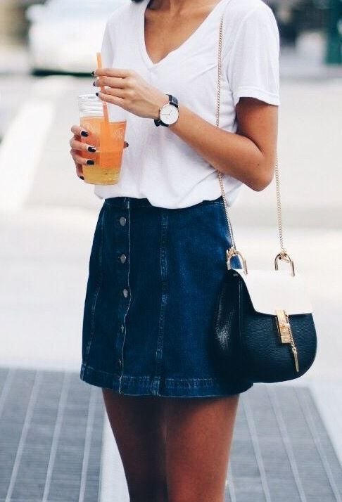Spring Outfits: white v-neck shirt, denim mini skirt, black and white crossbody bag, watch #outfitideas #skirt #teen #casual
