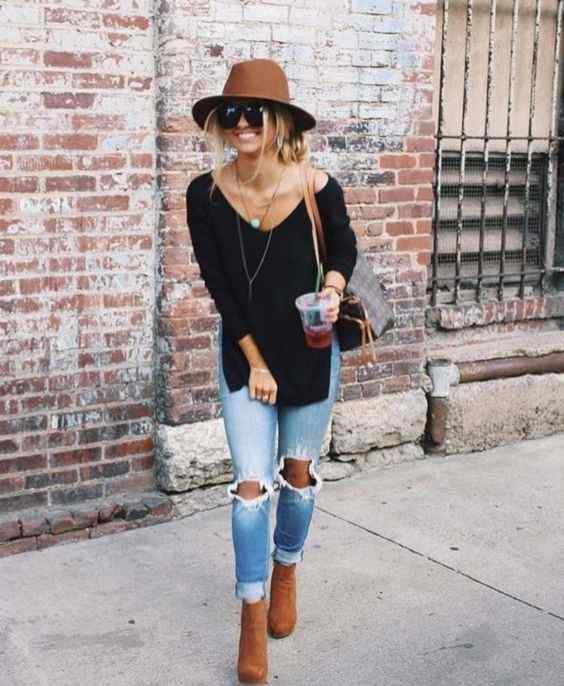 Spring Outfits: black long sleeve shirt, ripped jeans, camel booties, camel wide brim hat, brown bag, long necklace, sunglasses #outfitideas #smile #fashion #trendy