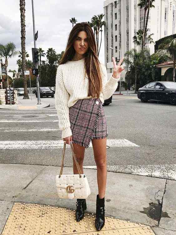 Spring Outfit: white sweater, wine plaid wrap skirt, black booties, white handbag #outfitoftheday #longhair #teen #urban