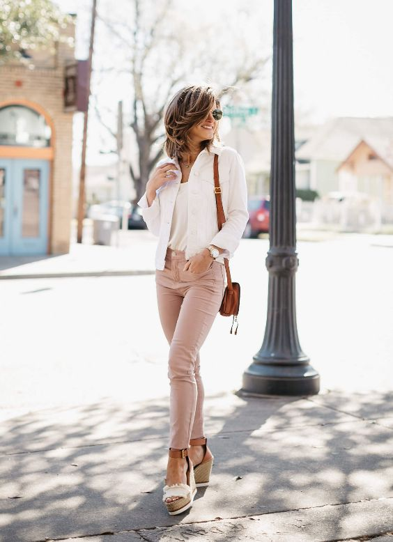 Spring Outfits: white blazer, white top, pink skinny pants, beige wedge sandals, camel crossbody bag, sunglasses #outfit #shorthair #pink #trendy