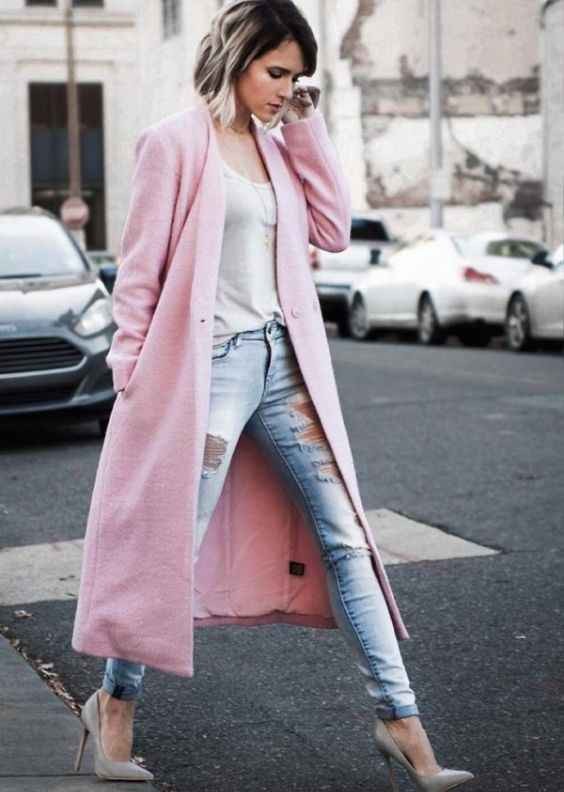 Spring Outfit: baby pink longline coat, white top, ripped jeans, nude heels #outfitoftheday #shorthair #pink #fashion