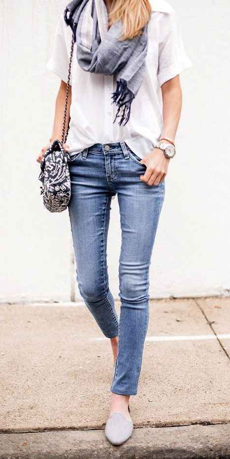 Spring Outfit: white half sleeve shirt, gray scarf, skinny jeans, gray slip-on shoes, black and white crossbody bag, watch, bracelet #outfit #teen #cute #trendy