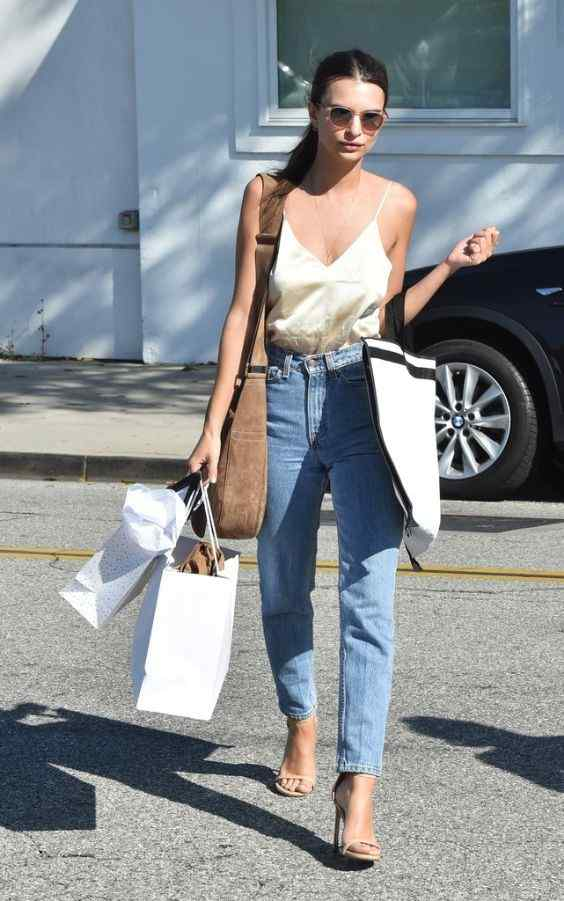 Spring Outfit: beige v-neck spaghetti strap top, mom jeans, nude high heel sandals, brown crossbody bag, sunglasses #outfitoftheday #brunette #women #fashion