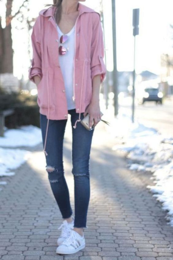 Spring Outfits: baby pink hooded jacket, white top, ripped skinny jeans, white sneakers, sunglasses #outfitideas #pink #girly #trendy