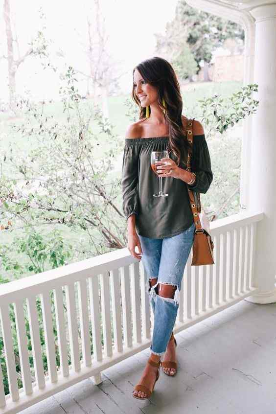 Spring Outfits: army green off the shoulder half sleeve top, ripped jeans, camel heeled sandals, camel crossbody bag, earrings #outfitideas #brunette #longhair #smile