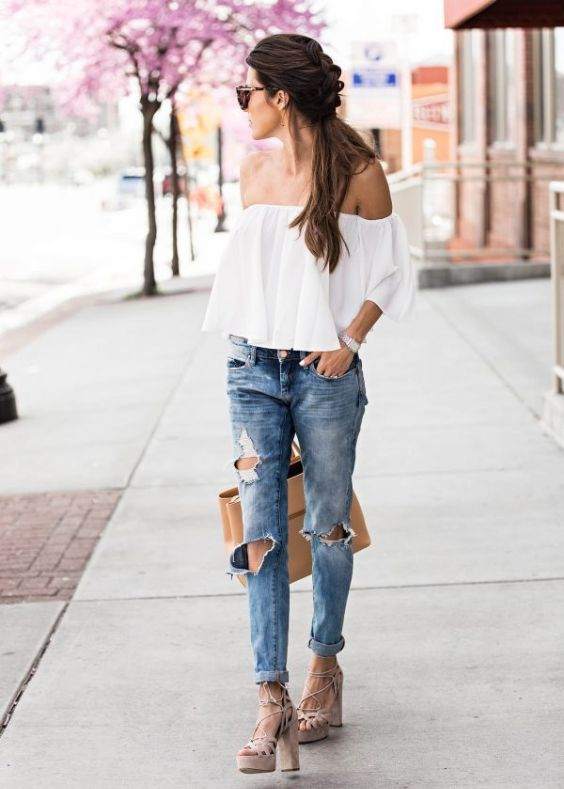 Spring Outfits: white off the shoulder ruffle top, ripped jeans, nude high heel sandals, beige handbag, bracelet, sunglasses #outfitoftheday #braidhair #brunette #trendy