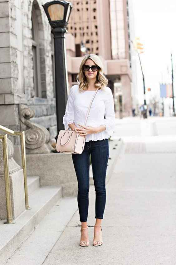 Spring Outfits: white flounce sleeve peplum blouse, skinny jeans, nude high heel sandals, beige handbag, sunglasses #outfitideas #blonde #city #look