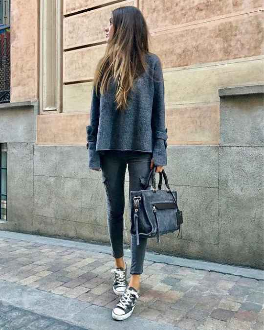 Spring Outfit: dark gray sweatshirt, ripped jeans, black and white sneakers, black handbag #outfit #longhair #springoutfit #girl