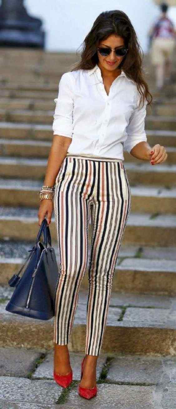 Spring Outfits: white half sleeve shirt, striped pegged pants, red heels, navy blue handbag, sunglasses, bracelet #outfitoftheday #women #professional #spring