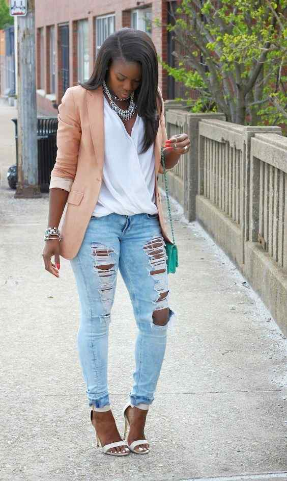 Spring Outfit: light peach blazer, white v-neck blouse, ripped jeans, white high heel sandals, necklace, turquoise purse, bracelet #outfit #pretty #girly #cute
