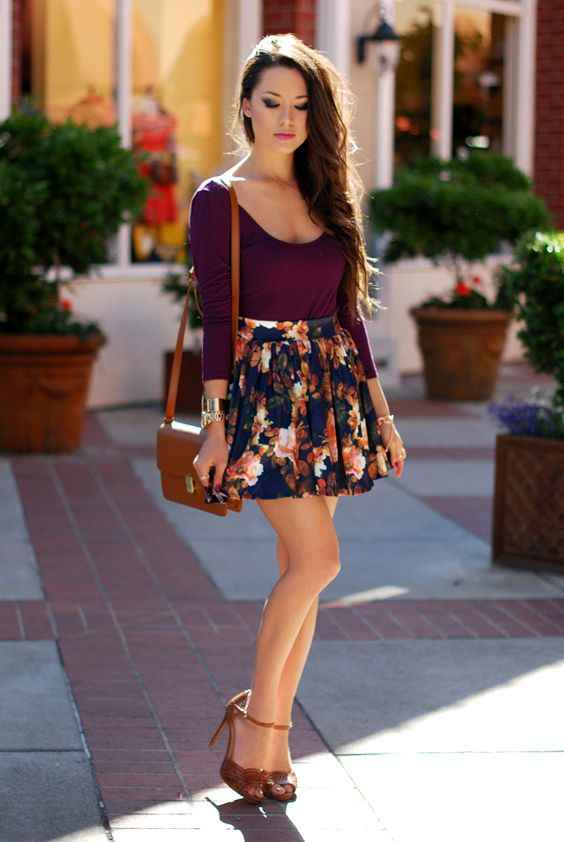 Spring Outfit: wine long sleeve top, navy blue floral circle skirt, camel heels, camel crossbody bag, bracelets #outfit #longhair #springoutfit #makeup