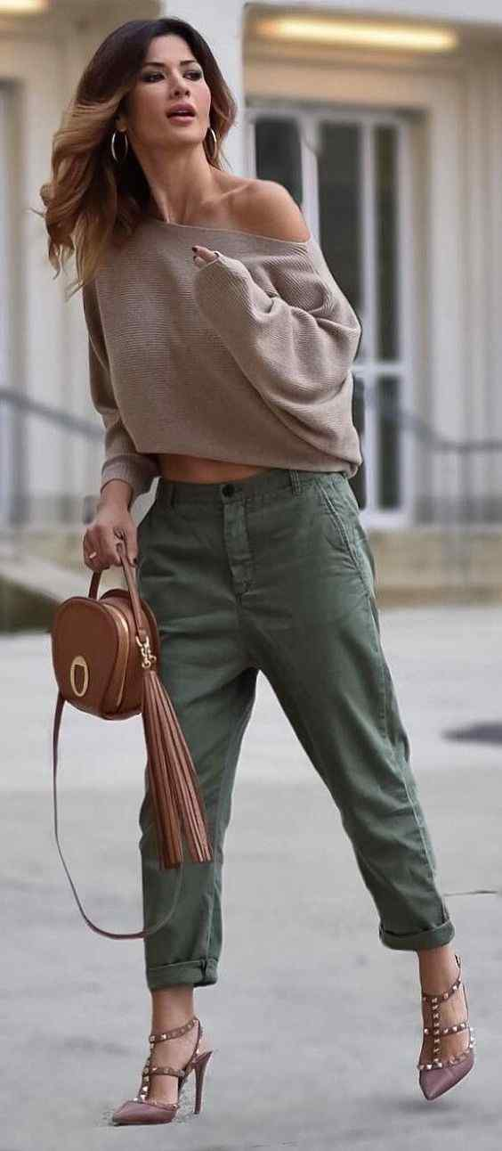 Spring Outfits: brown off the shoulder sweater, army green cargo pants, nude heels, camel purse, hoop earrings #outfitoftheday #spring #women #pretty