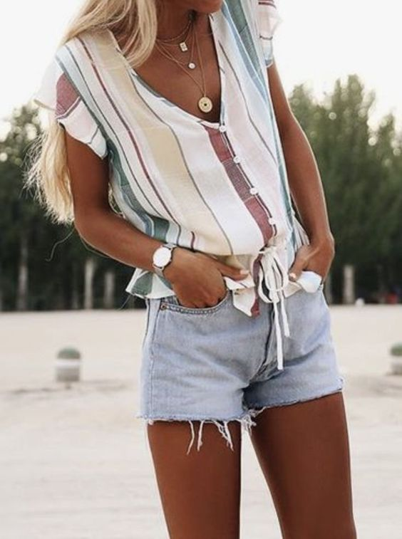 Summer Outfits: white striped knot blouse, denim shorts, necklace, watch #outfit #beach #trendy #fashion