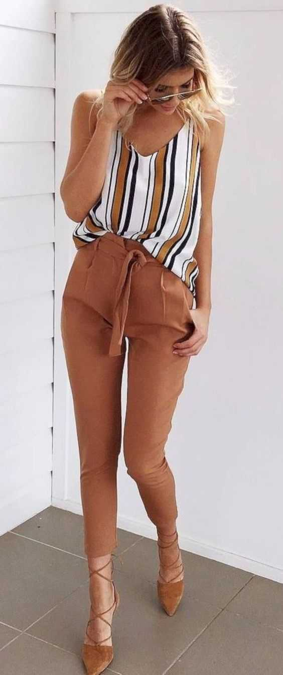 Summer Outfits: striped V-neck spaghetti strap top, light brown pegged, nude strappy lace up flat shoes #outfit #sun #casual #fashion