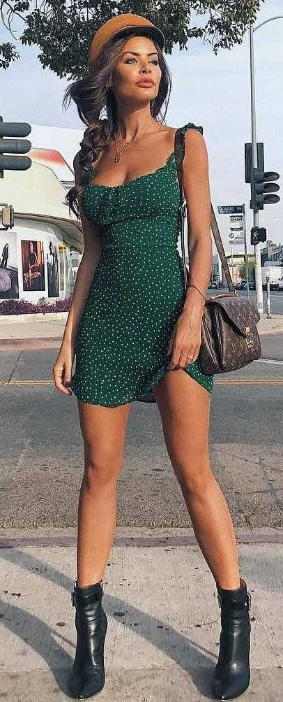 Summer Outfits: green mini dress, lace up booties, brown crossbody bag, brwon hat, necklace #outfitideas #makeup #summer #casual