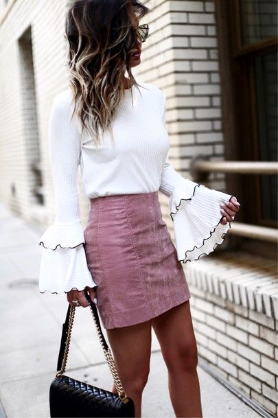 Summer Outfits: white bell sleeve top, pink mini skirt, black mini bag, sunglasses #outfit #pink #outfitpost #elegant