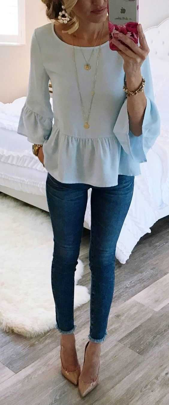 Summer Outfits: light blue bell sleeve peplum blouse, jeans, necklace, nude heels, bracelet, earrings, watch #outfitoftheday #fashion #trendy #summer