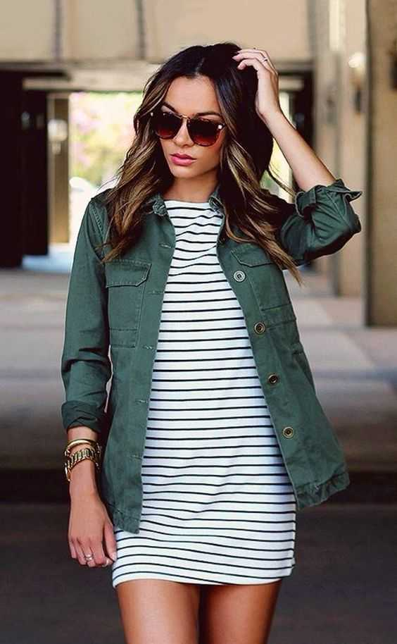 Summer Outfit: striped mini dress, green drill jacket, sunglasses, watch, bracelet #outfit #women #brunette #freshlooks