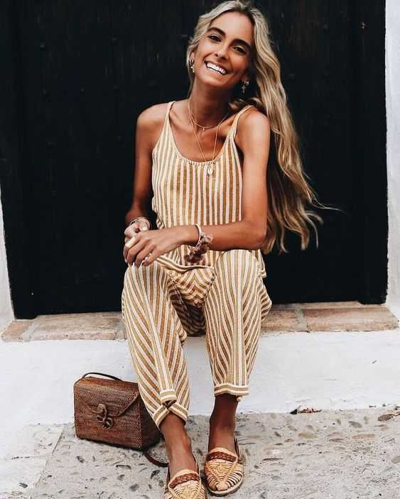 Summer Outfit: light brown and white striped jumpsuit, brown bag, bohemian loafter shoes, opera chain necklace, floral bracelet, earrings #outfitoftheday #freshlooks #smile #bohemian