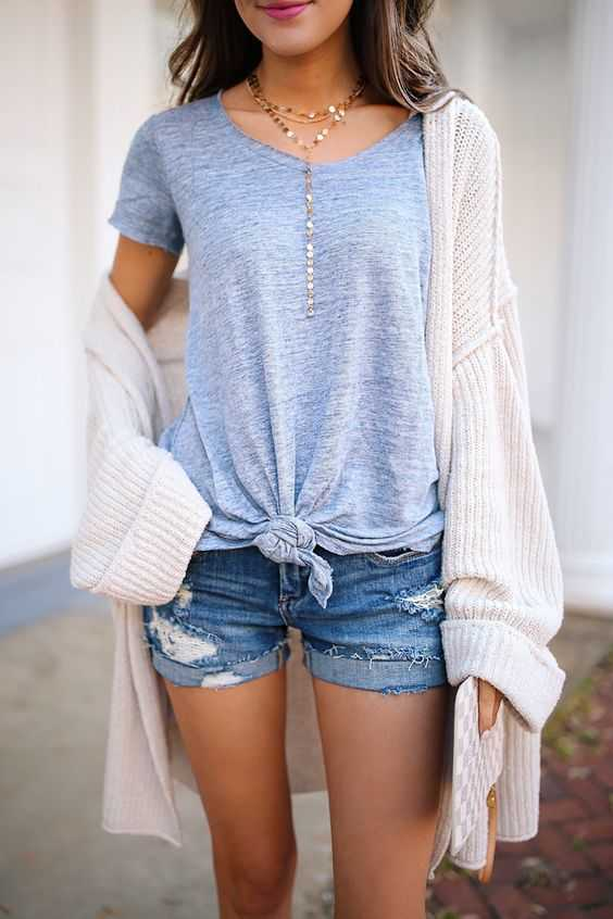 Summer Outfits: blue knot top, white cardigan, ripped denim shorts, long necklace #outfitideas #shorthair #cute #fashion